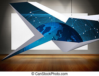 Composite image of blue earth on abstract screen - Blue...
