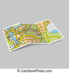 Map booklet - Illustration of map booklet on grey background