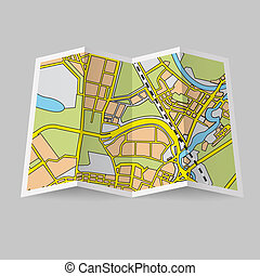 Map booklet - Illustration of folded map on grey background