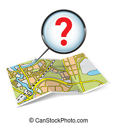 Map booklet with question mark - Illustration of map booklet...
