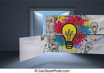 Light bulb and paint splashes on abstract screen against...