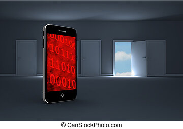 Composite image of binary code on smartphone screen - Binary...