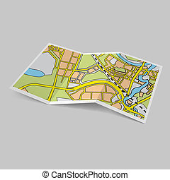 Map booklet - Illustration of city map booklet on grey...