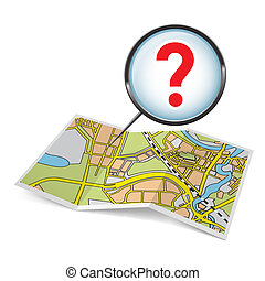Map booklet with question mark - City map booklet with...