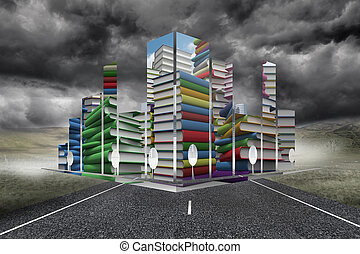 Composite image of piles of books on abstract screen - Piles...