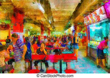 Cosy cafe - This image was created as digital imitation of...