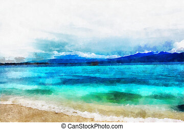 Tropical seascape - This image was created as digital...