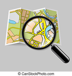 Map booklet with zoom - City map booklet with magnifying...