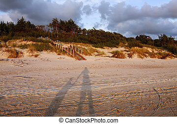 Shadows of two figures - father and son holding hands - in...
