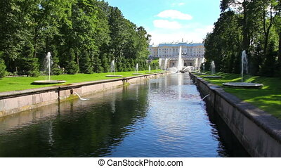 main channel in park Peterhof in St Petersburg Russia