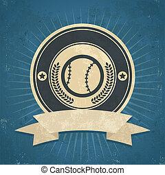 Retro Baseball Emblem - Retro grunge illustration of...