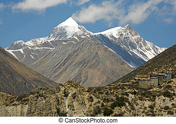 Himalayan mountain - Annapurna mountain range and village on...