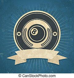 Retro Eight Ball Emblem - Retro grunge illustration of eight...