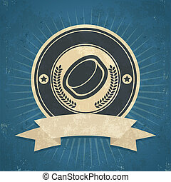 Retro Hockey Puck Emblem - Retro grunge illustration of...