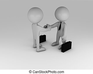business handshake - Business people handshake. 3d...