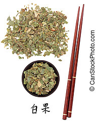 Ginkgo leaf chinese herbal medicine with chopsticks and...