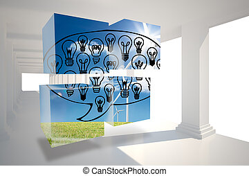 Light bulbs in speech bubble on abstract screen against digitally generated room with columns