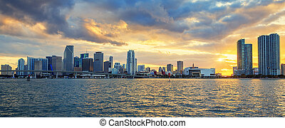 Miami, panoramic view - sunset with business and residential...