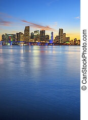 Miami, vetical view - Miami Florida, sunset with business...