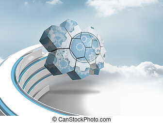 Composite image of cogs and wheels on abstract screen - Cogs...