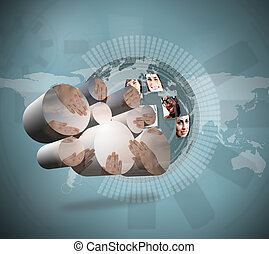 Composite image of united hands on abstract screen - United...