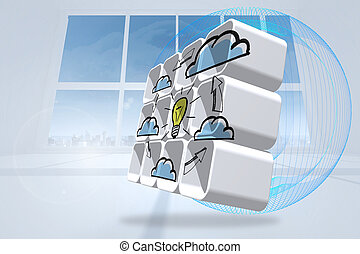 Cloud computing idea cycle on abstract screen against abstract blue design in white room
