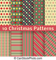 Christmas different vector seamless patterns (tiling). - 10...