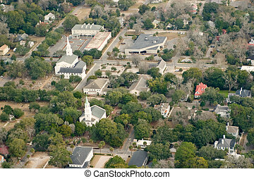 aerial small town - aerial shot of small town