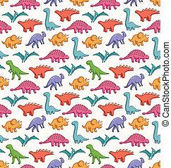 lindo, dinosaurios, seamless, vector, patrón
