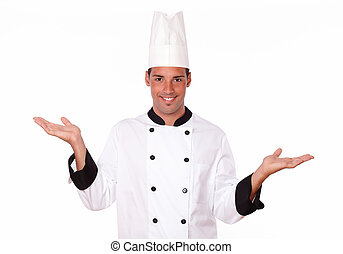 Handsome hispanic chef holding up his hands