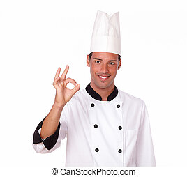 Professional male chef with positive gesture - Portrait of a...