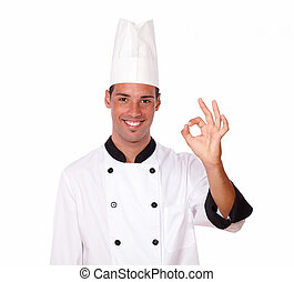 Cheerful male chef with ok gesture - Portrait of cheerful...