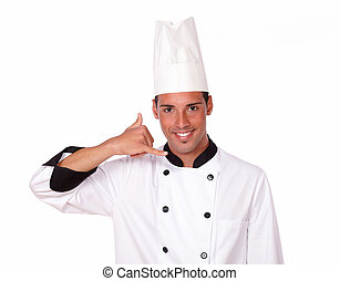 Handsome male chef with call gesture - Portrait of handsome...