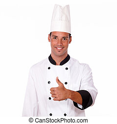 Happy male chef with positive thumb - Portrait of happy male...