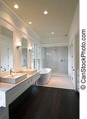 modern white bathroom with glass shower and dark wood floor