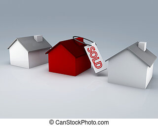 sold house - 3d illustration of a red house and a sold sign.