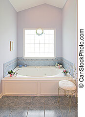 whirlpool tub - elegant bathroom with large whirlpool tub...