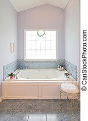 whirlpool tub - elegant bathroom with large whirlpool tub...