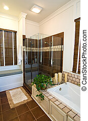 elegant bathroom with tile floor and tub surround