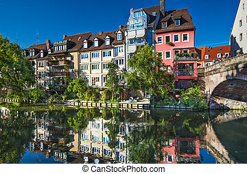 Nuremberg, Germany on the Pegnitz River - Nuremberg, Germany...