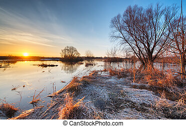 Early spring landscape Sunrise on a flooded river with...