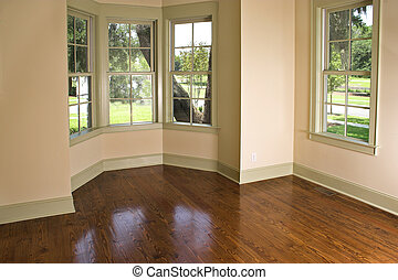 bay window - empty bedroom with bay window