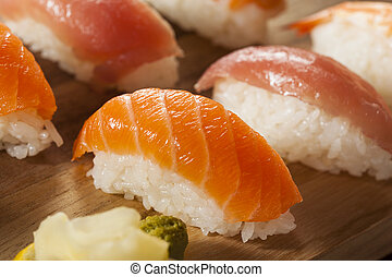 Healthy Japanese Nigiri Sushi with Rice and Fish