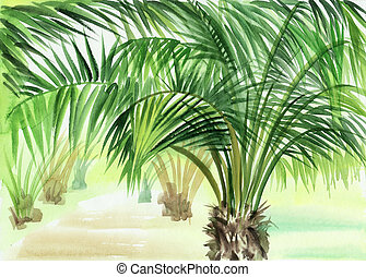 Palm alley watercolor original painting