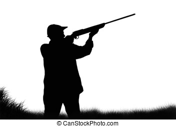 hunter silhouette - illustration, hunter silhouette isolated...