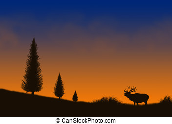 bull elk - illustration, bull elk silhouette and colorful...
