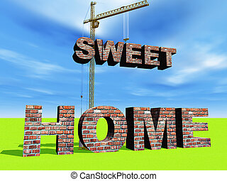 sweet home - illustration of home construction