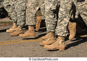 marching feet - military boots marching in formation