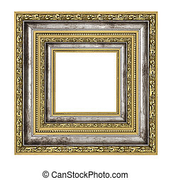 richly decorated frame with isolated on white