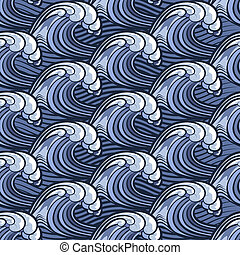 blue wave pattern - Seamless wave pattern drawn in cartoon...